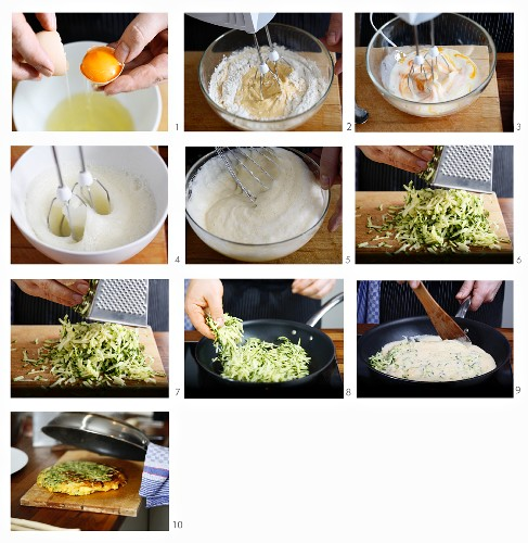 A courgette omelette being made