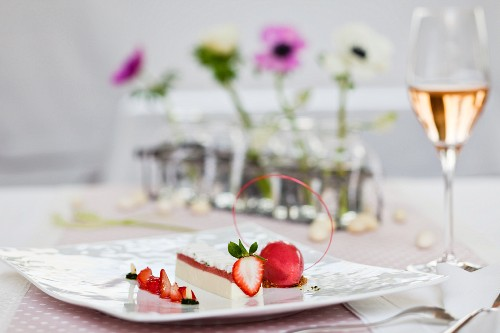 Panna cotta with strawberries for Easter