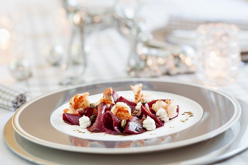 Beetroot carpaccio with prawns for Christmas