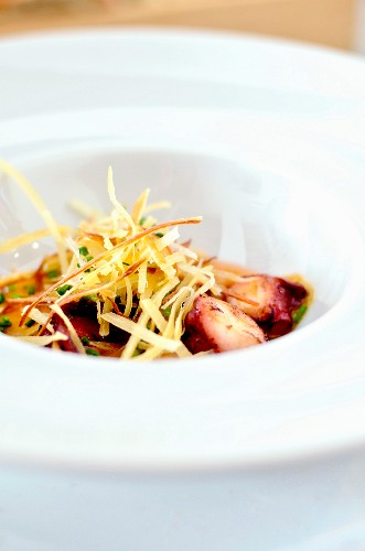 Grilled octopus with potato straw (Spain)