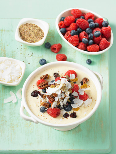 Breakfast smoothie in a bowl wheat germ and berries