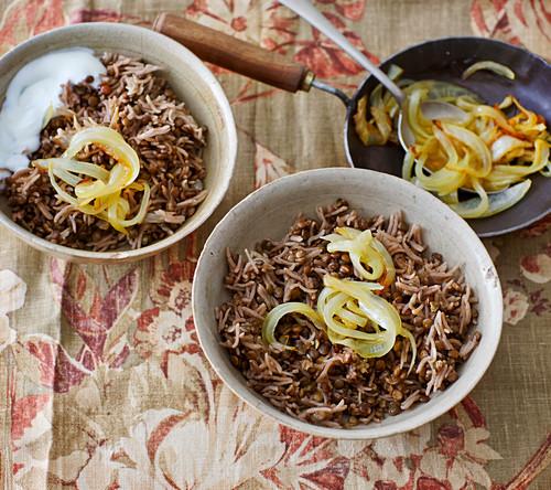 Mujaddara – Persian rice with lentils