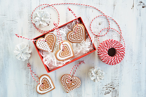 Gingerbread biscuits in a gift box