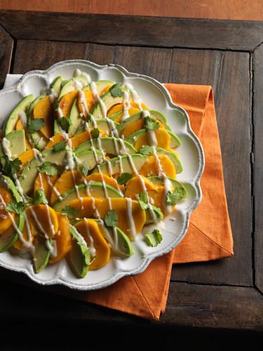 Avocado and kaki salad