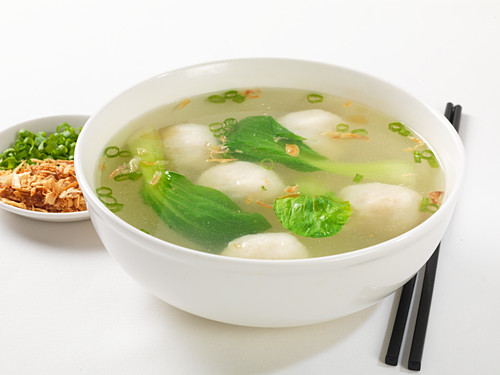 Fish ball soup with pak choi (Asia)