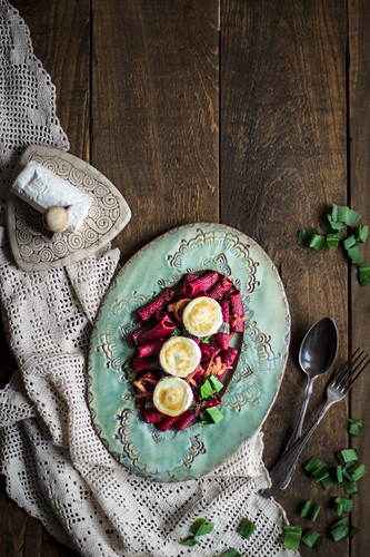 Beetroot pasta with goat's cheese