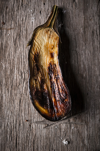 Roasted eggplant on a wooden background
