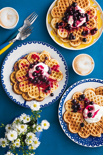 Oat breakfast waffles with blueberry elderflower compote