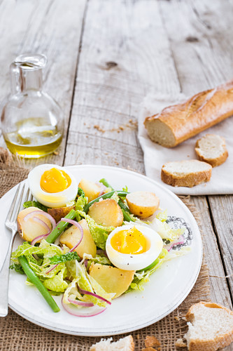 Potato salad with green beans and hard-boiled eggs