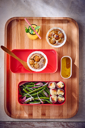 Spring rolls with green beans and mirabelle plum clafoutis