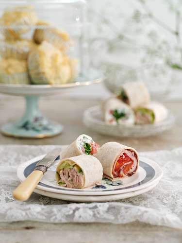 Various wraps for a teatime meal