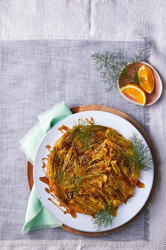Fennel and orange tarte tatin