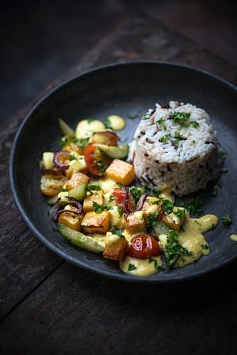 Vegan turnip curry with rice