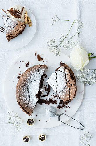 Chocolate hazelnut torte with ice cream