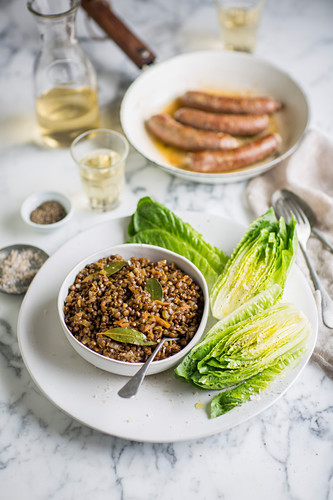 Lentil salad with sausages