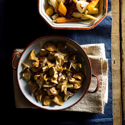 Sautéed mushrooms and roasted vegetables