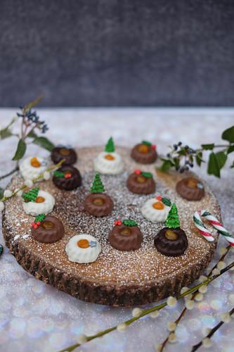 Mini winter Sacher Bundt cakes with apricot jam