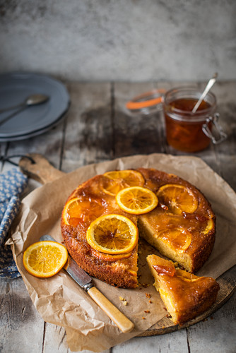 Orange marmalade cake, sliced removed