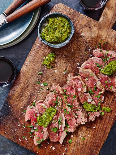 Sliced Steak with Salsa Verde