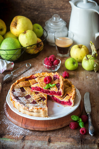 Raspberry apple pie with a pastry lattice