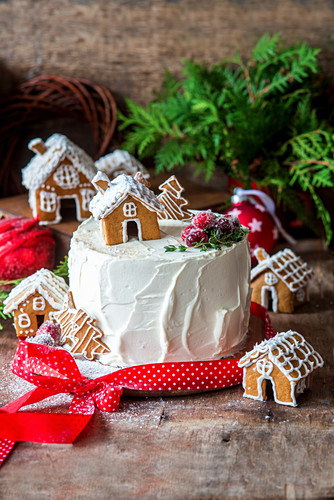 Christmas cake with gingerbread houses