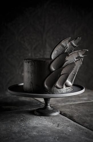 Black velvet cake with angel wings