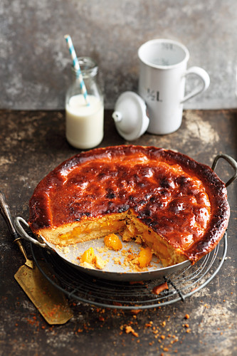 Grilled American-style peach cake