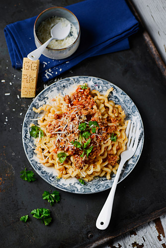 Fusilli lunghi with minced meat