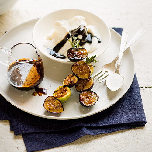 Grilled Fig Sundaes with Balsamic Fudge