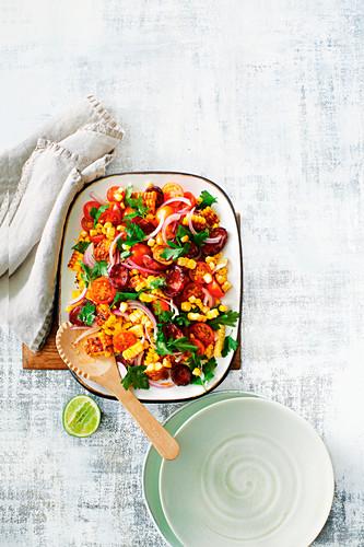Spicy Corn and Chorizo salad