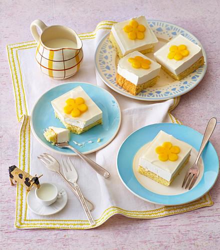 Cream slices decorated with mango flowers