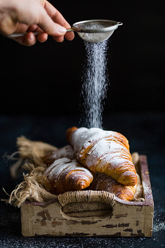 Croissants with powdered sugar