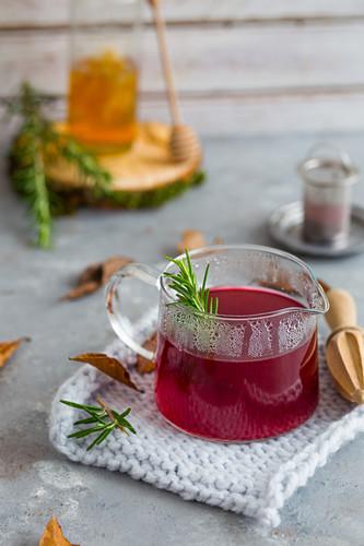 Hibiscus tea in a pot