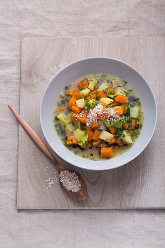 Pumpkin and potato stew with puffed amaranth