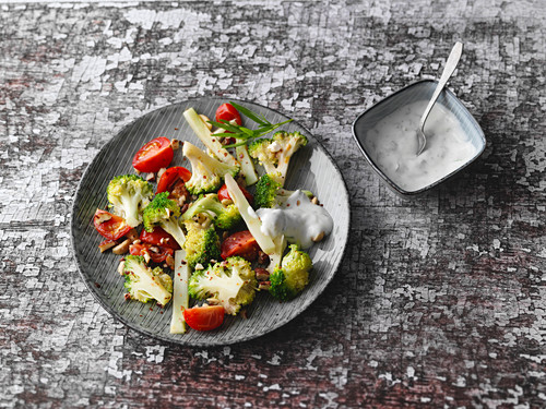 Roasted broccoli with tarragon and coconut cream