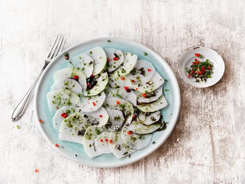 Kohlrabi and turnip carpaccio with chives and chilli