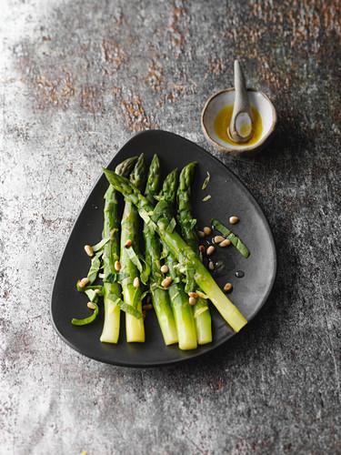 Marinated green asparagus with wild garlic