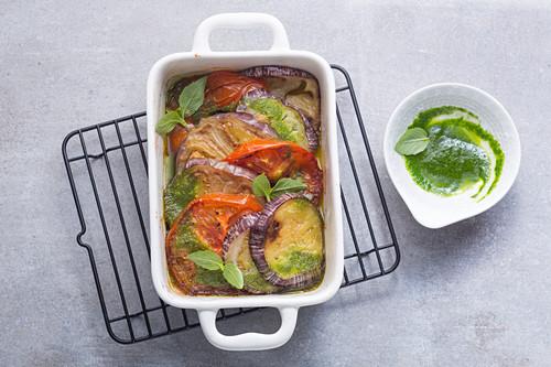 Vegan aubergine and tomato gratin