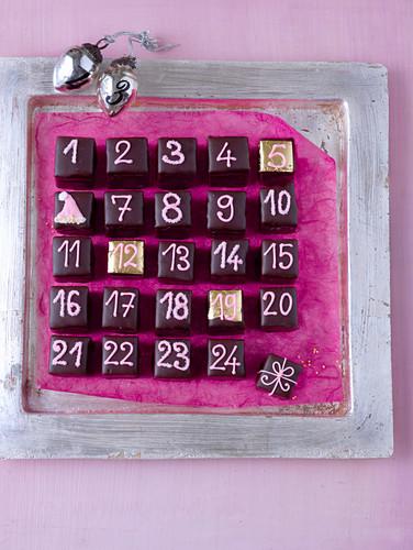 A advent calendar made of chocolate pralines