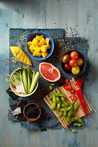 Fresh vegetables and fruits for making poke bowls