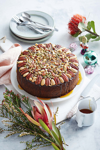 A gluten free cake with dried fruits and seeds