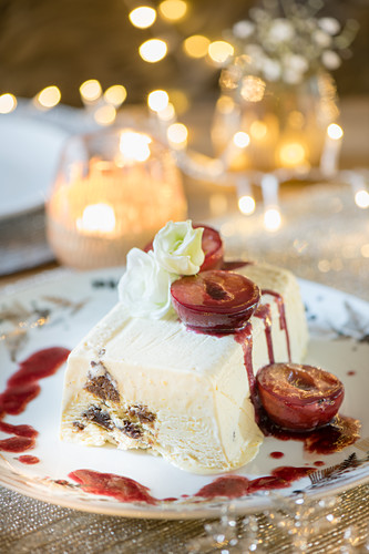 Christmas Pudding Parfait with Port glazed plums