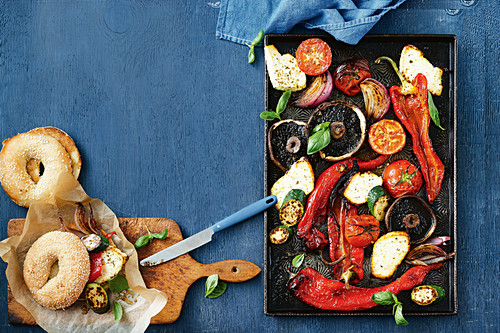 Ricotta and vegetable tray bake as bagel stuffing