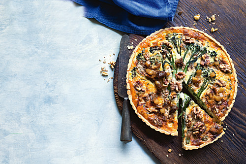 Gorgonzola, broccolini and walnut tart with pear relish