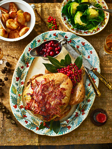 Turkey with bacon and cranberries (Christmas)