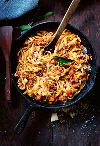 Tagliatelle bolognese in a pan