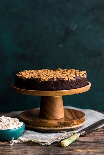 Freekah and pumpkin cake with coconut and espresso cream (vegan)