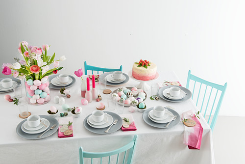 A table laid for Easter with coffee and cake