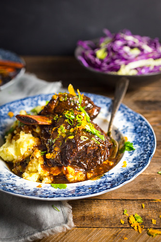 Braised Beef Short Ribs with Honey Soy and Orange