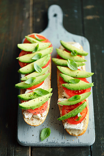 Rolls with feta, tomatoes and avocado